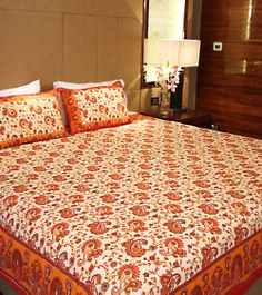 Rajasthani Gold Print Cotton Double Bed Sheet