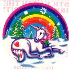 Very Rare Vintage Lisa Frank Winter Rainbow Snowy Holiday Unicorn Sticker 80s via Etsy