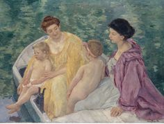 Le Bain (Two mothers and their children in a boat) (1910) Cassatt