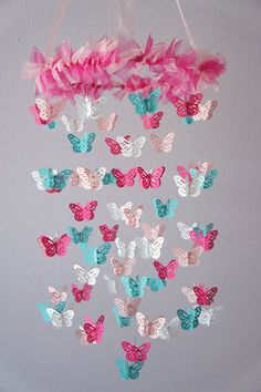i wonder if something like this would be easy to make. Nursery Mobile - Hot Pink & Aqua Butterfly Mobile, Photography Prop, Baby Shower Gift on Luulla Butterfly Nursery, Butterfly Mobile, Butterfly Baby, Butterfly Crafts, White Butterfly, Diy And Crafts, Paper Crafts, Diy Paper, Diy Bebe