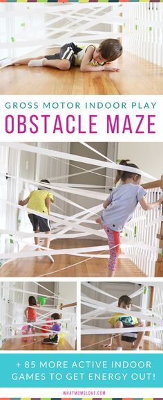 Gross Motor indoor play including an indoor maze! Great way to keep the kids busy inside!
