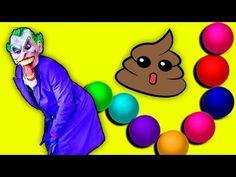 FROZEN ELSA POO COLORED BALLS with PINK SPIDERGIRL vs BABY SPIDERMAN vs JOKER Superhero Fun! - YouTube
