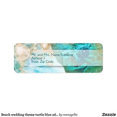 Beach wedding theme turtle blue address label