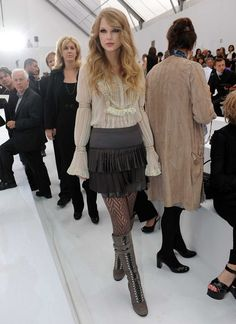 Taylor Swift in lace tights.  Cute @Allie Rose