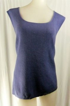 CHICO'S DESIGN Size 3 Large Periwinkle Sleeveless Thin Knit Sweater Top #Chicos #KnitTop #Casual