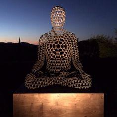 Emanation, by Sukhi Barber, bronze sculpture, 135cm, sunset meditation, yoga meditator, contemporary art, Buddhist, Buddha