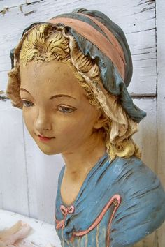 Large bust sculpture French milkmaid vintage beautiful coloring distressed shabby chic home decor by Anita Spero
