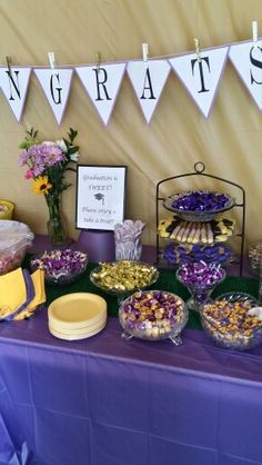purple and gold themed graduation party - Google Search
