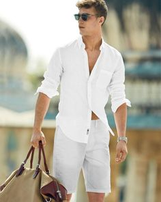 J.Crew men's shirt in Irish linen and Wallace & Barnes duffel.