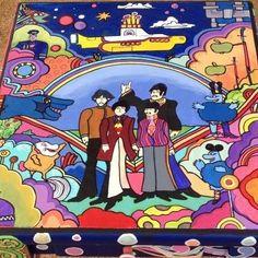 Hand painted Beatles yellow submarine table facebook.com/MoonlightArts