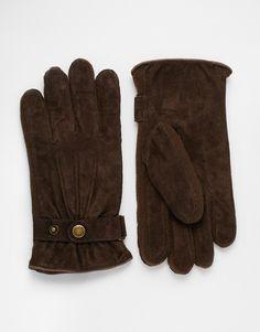Handschuhe von Dents Außenmaterial aus weichem Wildleder Fleecefutter gestrickte Seiteneinsätze drei Ziernähte Armbündchen mit Druckknopf mit geeignetem Pflegemittel behandeln 100% echtes Leder