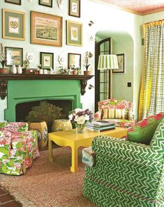 Explore the world of Madcap cottage where we mix print, color and pattern to bring good design to life. Bring the adventure home. Cottage Design, Cottage Style, House Design, Style At Home, Interior Simple, Interior Design, Yellow Interior, Ideas Hogar, Living Spaces