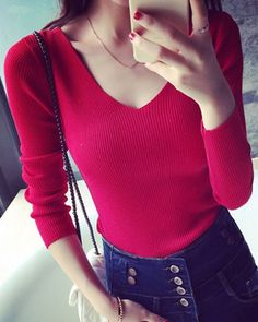 Stylish V-Neck Long Sleeve Slimming Sweater For Women
