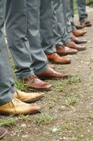 Grey with brown shoes for groomsmen!