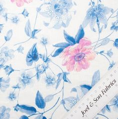 Check out the new and latest additions to our dedicated online fabric shop. Printed Linen, Pink Blue, Floral Prints, Fabric, Wedding, Tejido, Valentines Day Weddings, Mariage, Fabrics