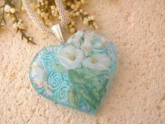 Aqua Calla Lily - Dichroic Fused Glass Jewelry -  Heart - Fused Dichroic Glass Heart Necklace 112513p103 on Etsy, $28.00
