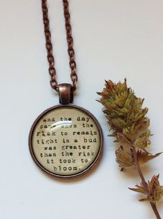 This pendant comes in a beautiful antiqued copper color. Each necklace is customized with a favorite quote and then given a treatment to give it