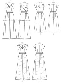Line Art | McCalls M7167| Misses Romper and Jumpsuits | Sewing Pattern (ABCD) | Size: A5 (6-8-10-12-14)