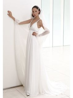 Chiffon Sleeveless Beaded V-Neckline Beaded Empire waistline A-Line Wedding Dress