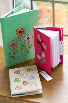 Embroidered notebooks handmade by Stitch Galore