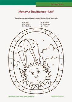 permainan anak paud (balita/TK), mewarnai sambil belajar membaca huruf, gambar matahari
