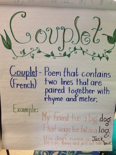 Couplet poem anchor chart