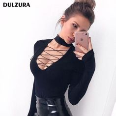 Dulzura cotton lace up long sleeve bodysuit 2018 spring winter women sexy  hollow out body black 8553fa3e8