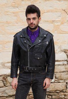Vintage Perfecto style Jacket, Black Leather Jacket, Multi zip, Motorcycle Jacket, Biker Jacket, Men by MagicBusVintageGoods on Etsy