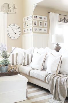 Favorite white ruffle euro shams. Best farmhouse pillows. Cottage pillows. Farmhouse living room decorating ideas. Neutral living room decor. White living room decor. Cottage living room decor