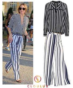 Olivia Palermo wagt es, Streifen mit Streifen zu kombinieren und es sieht hervorragend aus! Zur längsgestreifte Flare-Pants trägt sie eine ebenfalls gestreifte Bluse im Häftling-Style!