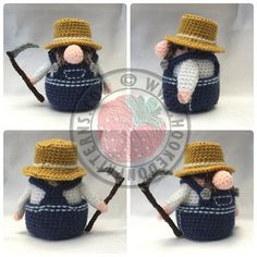 """Farmer Gonk - IMPORTANT: You'll still need to purchase the original Santa Gonk pattern to follow these free add on accessories (see my folder """"Crochet Patterns to Buy"""" for the Santa pin)"""
