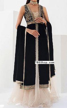 Black Velvet Suit   Buy Pakistani Fashion Dresses and Clothing Online in USA, UK Pakistani Wedding Dresses Online, Pakistani Dresses Online Shopping, Online Dress Shopping, Designer Party Dresses, Indian Designer Outfits, Black Velvet Suit, Pakistani Designers, Ladies Dress Design, Fashion Dresses