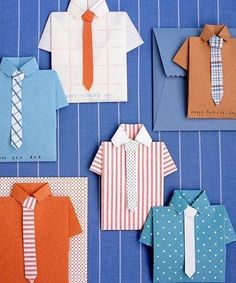 Fathers Day Cards: Folded-Shirt Card Make Dad's day extra-special this year with these Father's Day crafts for kids. Give Dad the perfect Father's Day card to go along with his gift. Help kids make this unique shirt-and-tie card using decorative paper. Daddy Day, Martha Stewart Crafts, Father's Day Diy, Fathers Day Crafts, Cute Cards, Scrapbook Cards, Homemade Cards, Holiday Crafts, Cardmaking