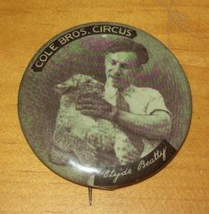 Old Advertising Pinback Cole Bros CIRCUS Clyde Beatty Lion Cub