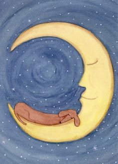 Brown shorthaired dachshund (doxie) sleeping on moon / Lynch signed folk art print Weiner/Wiener dog via Etsy