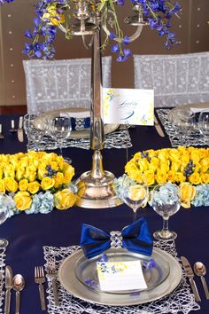 Blue and Yellow reception wedding flowers,  wedding decor, wedding flower centerpiece, wedding flower arrangement, add pic source on comment and we will update it. www.myfloweraffair.com can create this beautiful wedding flower look.