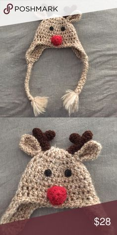 Handmade Rudolph hat - newborn Newborn Rudolph hat. Purchased of etsy last year. Absolutely adorable. Used for new born photos last year. Super soft and in excellent brand new condition. Definitely going to be purchasing more of these this year for both my kids. Last photo is of my son wearing this adorable hat. ❤️ Materials: acrylic yarn, wool blend yarn cotton, buttons, thread. Accessories Hats