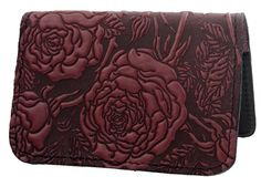 Leather Card Holder | Mini Wallet | Wild Rose in Wine