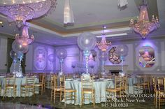 Winter Themed Party Room...I like the lavender also with the white,,