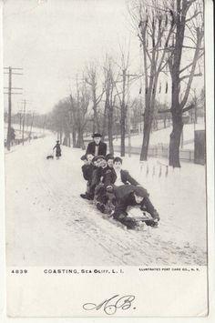 NY NYC Long Island Sea Cliff Coasting On Snow 1906 Postcard | EBay