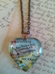 1950's map necklace Honduras adoption love by NoTwoTheSame on Etsy, $13.00