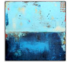 Large Original Painting Blue Abstract