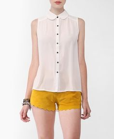 Contrast Button High-Low Shirt, Forever 21 , CAD5$