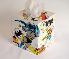 DC Comics Super Friends 1970's Vintage Wallpaper Tissue Box Cover