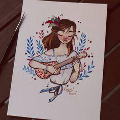 Ukelele girl| @raqueltravelillustration insta