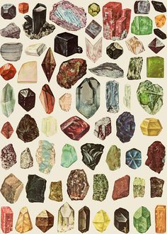 Lovely illustration of rocks and minerals. This reminds me of a book I had and loved when I was little, the Usborne book of rocks and minerals or something. the cover was yellow, with very similar illustrations like these. Art And Illustration, Crystal Illustration, Stock Illustrations, Pattern Illustration, Rocks And Gems, Art Plastique, Rocks And Minerals, Stones And Crystals, Healing Crystals