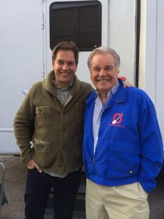 Michael Weatherly and Robert Wagner on the set of NCIS.