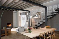 wohnbereich modern holz esstisch stehlampe eiche Maison Franken