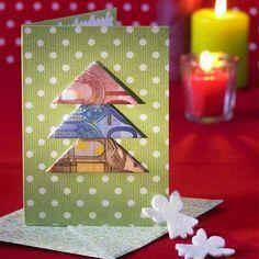 Weihnachtskarte mit Geldtannenbaum