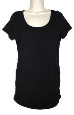 979e81a85ffcb MOTHERHOOD MATERNITY Black Side Ruched Cap Sleeve Tee T Shirt Top M # Motherhood #KnitTop #Versatile